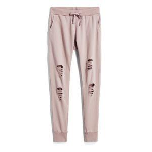Pants - NWOT Distressed joggers L
